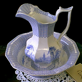 Staffordshire Transferware Pitcher and Bowl