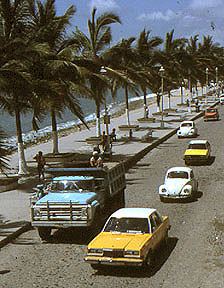 Cars along Malecon in Puerto Vallarta, Mexico