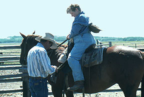 Ranchhand Helps a Guest at the David Rance, Pinedale, Wyoming